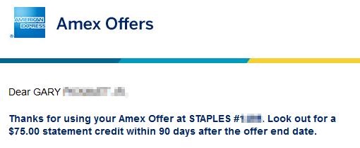 Congrats 75 amex offer